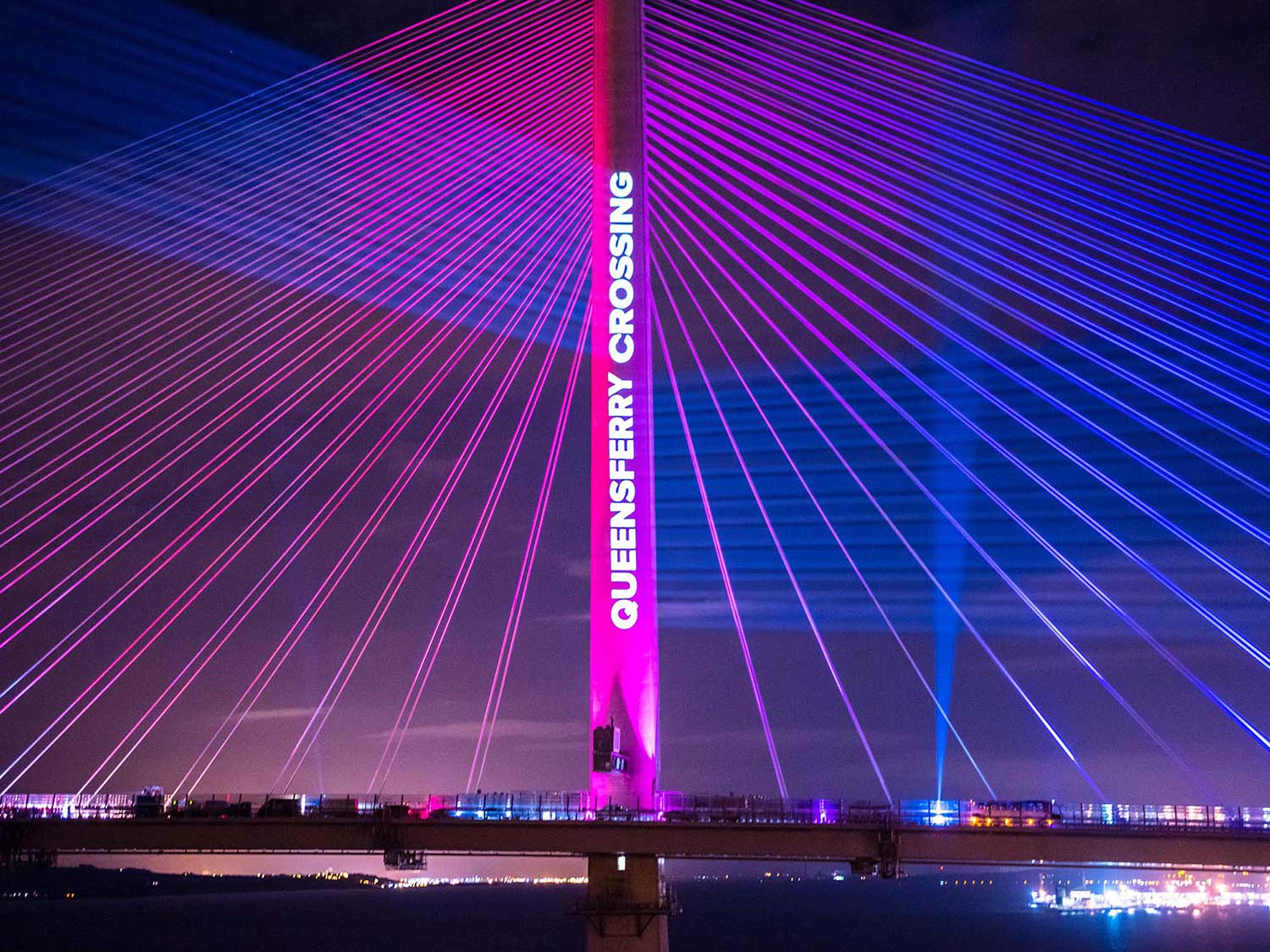 Queensferry Crossing Launch Projection, bridge spire VJing