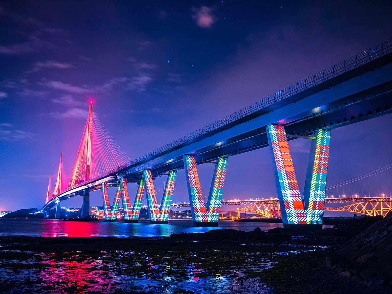 Queensferry Crossing Launch Projection mapping, under bridge