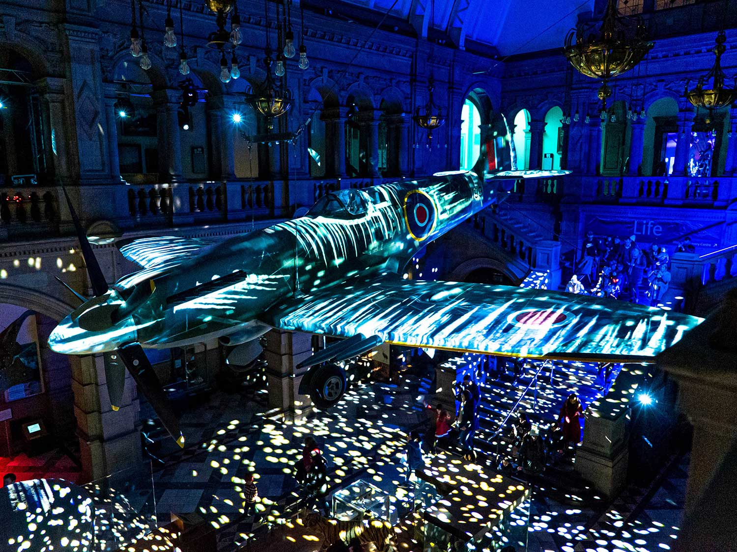 Icicle Projection mapping onto Spitfire, Kevlingrove Glasgow