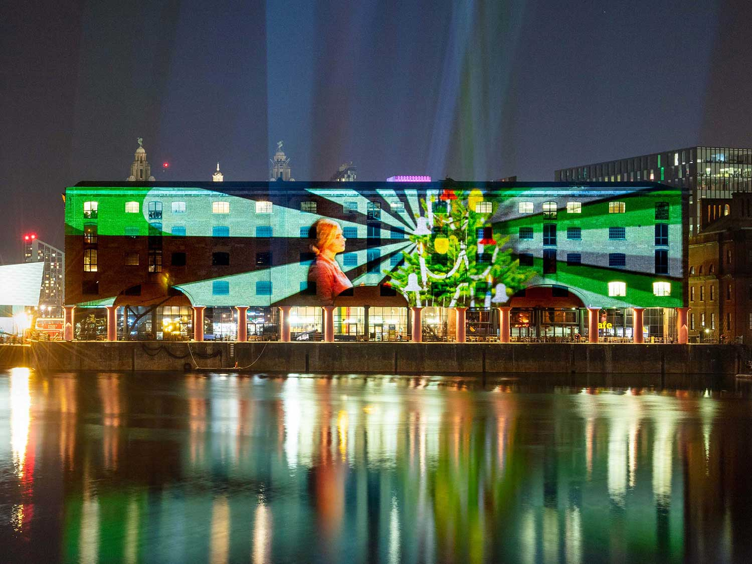 Liverpool Albert Dock Christmas Projection mapped light show