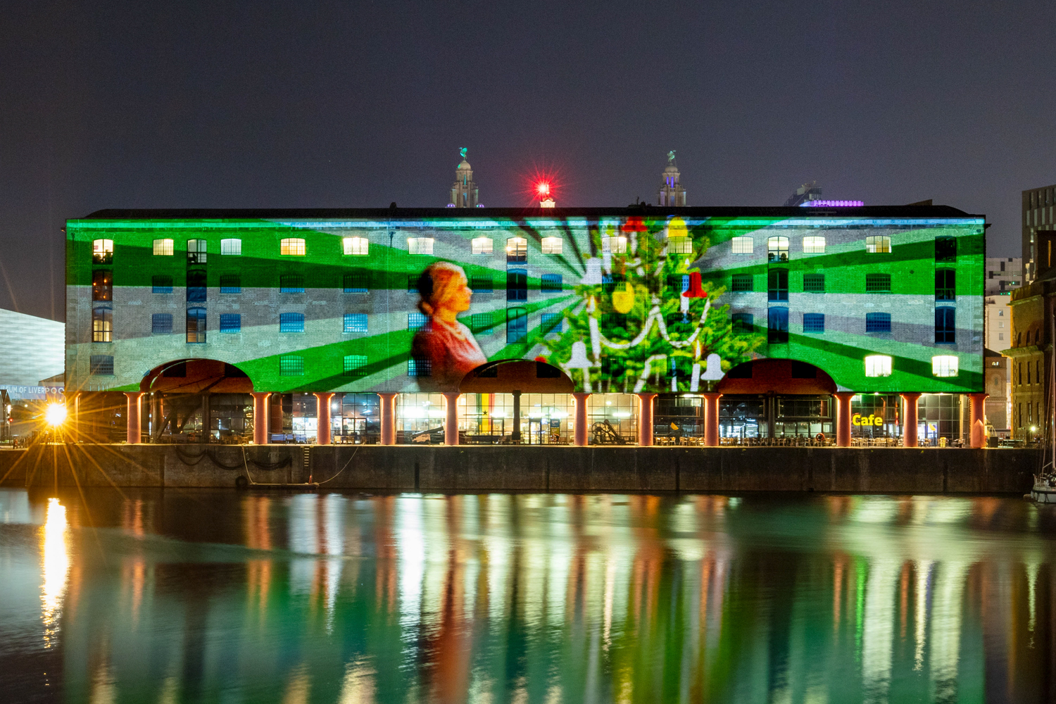 Liverpool projections, Christmas projections, 3d projection mapping