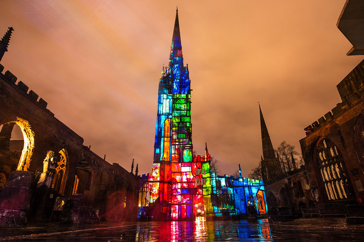 Coventry England, Street projection, mapping projection, where light falls