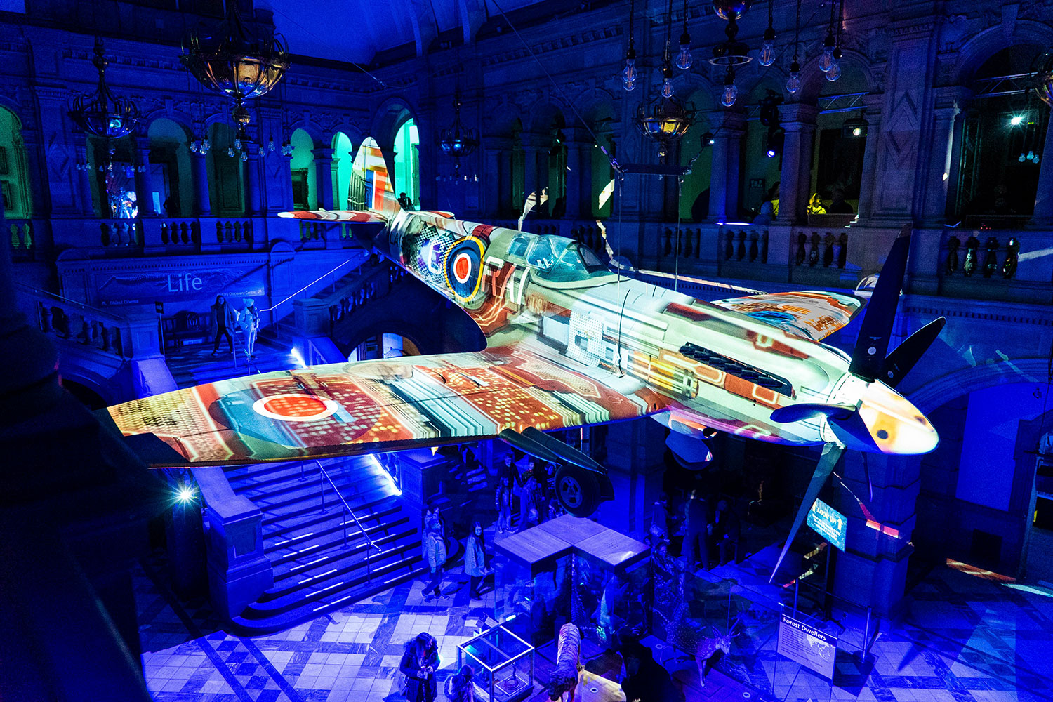 Spitfire Projection Mapping at Kelvin Grove Art Gallery Glasgow, Projection mapping